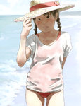 1girl adjusting_clothes adjusting_hat arm_behind_back arm_up beach black_eyes black_hair braid commentary_request day flower hat hat_flower looking_at_viewer ocean one-piece_swimsuit original outdoors red_swimsuit shirt short_sleeves solo standing straw_hat sun_hat swimsuit swimsuit_under_clothes tnt_(aaaazzzz) twintails water white_shirt