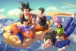 5boys :d ^_^ armor black_eyes black_hair blue_sky boots brothers carrying chinese_clothes clenched_hands closed_eyes cloud cloudy_sky crossed_legs day dougi dragon_ball dragon_ball_z eating evening expressionless eyebrows_visible_through_hair father_and_son floating_hair flying flying_nimbus food full_body gloves green_shirt happy highres lettuce long_sleeves looking_at_another looking_back male_focus mountain multiple_boys open_mouth orange_pants outdoors profile purple_hair red_footwear sandwich shaded_face shirt shoes short_hair siblings sitting sky smile sneakers son_gohan son_gokuu son_goten spiked_hair sunlight trunks_(dragon_ball) vegeta waistcoat waving white_gloves white_shirt wristband