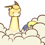 1boy :3 cafe_(chuu_no_ouchi) chibi gold_(pokemon) hat liftoff lowres pokemon pokemon_(game) pokemon_hgss raichu smile