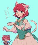 1boy 1girl anger_vein animal_ears aqua_background bell brother_and_sister cat_day cat_ears cat_tail chibi commentary dress elbow_gloves fake_animal_ears fake_tail fire_emblem fire_emblem:_rekka_no_ken gloves green_eyes highres long_sleeves open_mouth priscilla_(fire_emblem) raven_(fire_emblem) red_eyes red_hair see-through short_hair siblings simple_background sisuko1016 tail white_gloves