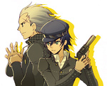 1boy 1girl androgynous back-to-back black_eyes blonde_hair blue_hair bullet cabbie_hat couple crossdressing green_eyes gun hat hetero long_sleeves looking_away persona persona_4 profile reverse_trap sake_asari scar school_uniform shirogane_naoto short_hair smile tatsumi_kanji weapon