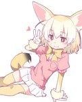 1girl animal_ears arm_support arm_up bangs blonde_hair bow bowtie brown_eyes closed_mouth extra_ears eyebrows_visible_through_hair fang fang_out fennec_(kemono_friends) fox_ears fox_girl fox_tail gradient_hair hair_between_eyes heart ixy kemono_friends long_hair multicolored_hair pink_sweater pleated_skirt puffy_short_sleeves puffy_sleeves shirt short_sleeve_sweater short_sleeves simple_background skirt smile solo sweater tail thighhighs v white_background white_hair white_shirt white_skirt yellow_legwear yellow_neckwear