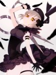 1girl absurdres ass blonde_hair feathers garters gloves harino_m hat highres knife looking_back magical_girl mahou_shoujo_ikusei_keikaku nurse_cap scissors shadowgale short_hair sleeveless slit_pupils solo yellow_eyes