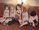 5girls ^_^ absurdres akiyama_mio black_hair blonde_hair blush brown_eyes brown_hair closed_eyes crying highres hirasawa_yui indoors juralumin k-on! kotobuki_tsumugi long_hair multiple_girls nakano_azusa panties pantyhose pantyshot pantyshot_(sitting) shirt shoes sitting skirt striped striped_panties t-shirt tainaka_ritsu tears twintails underwear uwabaki window