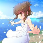 1girl alternate_costume blue_sky brown_eyes brown_hair cloud commentary_request cowboy_shot day dress folded_ponytail foreshortening grass horizon inazuma_(kantai_collection) kantai_collection long_hair mountain ocean off-shoulder_dress off_shoulder outdoors outstretched_arms petals scenery sky sleeveless sleeveless_dress smile solo white_dress you_naka