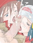 2girls bandana beanie blue_eyes blue_hair blush brown_hair cum cum_on_hair endou_masatoshi facial fellatio haruka_(pokemon) hat hikari_(pokemon) licking lowres multiple_fellatio multiple_girls odamaki_sapphire open_mouth oral penis penis_on_face pokemon pokemon_special pubic_hair tears testicles tongue