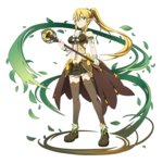 1girl blonde_hair bra braid brown_legwear floating_hair flower full_body green_bra green_eyes green_skirt hair_between_eyes hair_flower hair_ornament hair_ribbon high_ponytail highres holding holding_weapon leafa long_hair looking_at_viewer miniskirt pleated_skirt red_flower ribbon skirt solo standing sword_art_online thighhighs transparent_background twin_braids underwear very_long_hair weapon zettai_ryouiki