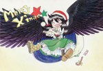1girl bag black_hair black_wings blush candy candy_cane cape closed_eyes fumie_(mikan_to_mu_83) hat long_hair merry_christmas puffy_short_sleeves puffy_sleeves reiuji_utsuho santa_hat shoes short_sleeves smile socks solo star text touhou traditional_media wings