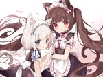 2girls :3 :o animal_ear_fluff animal_ears apron back_bow bangs bell bell_choker black_bow black_skirt blue_bow blue_eyes blunt_bangs blush bow brown_hair cat_ears cat_girl cat_tail chocola_(sayori) choker closed_mouth commentary double-breasted frilled_apron frilled_sleeves frills fujii_shino high-waist_skirt highres holding_hand jingle_bell long_hair looking_at_viewer low_twintails maid_dress maid_headdress multiple_girls nekopara pink_bow pink_eyes puffy_short_sleeves puffy_sleeves short_sleeves siblings sisters skirt tail twintails vanilla_(sayori) very_long_hair waist_apron white_apron white_hair wrist_cuffs