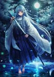 1girl absurdly_long_hair bangs barefoot blue_hakama cloud floating_hair full_body green_eyes hair_ribbon hakama holding holding_sheath holding_sword holding_weapon japanese_clothes katana kazuki_seto kimono long_hair looking_at_viewer night original outdoors ribbon sheath silver_hair sky solo standing star_(sky) starry_sky sword unsheathing very_long_hair weapon white_kimono white_ribbon