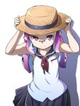 1girl arms_up black_skirt blouse brown_headwear closed_mouth commentary domino_mask hands_on_headwear hat highres inkling light_blush long_hair looking_at_viewer mask miniskirt neckerchief pink_eyes pink_hair pleated_skirt pointy_ears porkpie_hat red_neckwear sailor_collar shadow simple_background skirt sleeveless_blouse smile solo splatoon_(series) standing straw_hat tentacle_hair toraneko555 upper_body white_background white_blouse