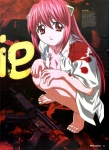 1girl artist_request barefoot blood breasts cleavage elfen_lied feet gun h&k_mp5 heckler_&_koch highres horns long_hair lucy medium_breasts newtype nyuu open_clothes open_mouth open_shirt pink_hair red_eyes scan shirt solo squatting submachine_gun very_long_hair weapon