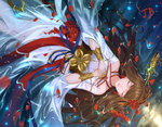 1girl absurdres braid brown_hair closed_eyes dungeon_and_fighter facing_viewer female_priest_(dungeon_and_fighter) flower hair_flower hair_ornament hair_stick hands_up highres initial jb_(luna9953) long_hair lying on_back petals shaman shaman_(dungeon_and_fighter) solo