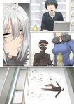 1girl 2boys 4panels ahoge bangs black_gloves black_hair black_shirt breasts broken_glass broken_window brown_pants closed_mouth comic commentary_request dishwashing_soap expressionless eyebrows_visible_through_hair faceless faceless_male fate/grand_order fate_(series) fur_trim ginhaha glass gloves grey_hair gun handgun hands_in_pockets hat highres jacket jeanne_d'arc_(alter)_(fate) jeanne_d'arc_(fate)_(all) large_breasts lying mask multiple_boys on_back open_mouth pants pocket shelf shirt shoes short_hair sunglasses sweat trembling weapon yellow_eyes