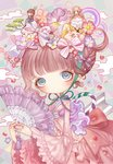 4girls bangs bed blonde_hair blue_eyes blunt_bangs blush bonnet bow brown_hair bunny cake cherry_blossoms cloud crown dress eyelashes fan flower folding_fan food hair_bow hair_flower hair_ornament holding japanese_clothes jewelry lalala222 lolita_fashion long_sleeves looking_at_viewer lying minigirl multiple_girls nail_polish one_eye_closed original petals pink_dress purple_nails rainbow ring sitting sleeping striped striped_bow tassel tree violet_(flower) wa_lolita white_pupils wide_sleeves