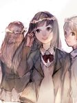 3girls asuta_(syunsn) bangs black_hair bow bowtie brown_eyes brown_hair commentary_request formal from_behind grey_skirt grin head_wreath long_hair looking_at_viewer multiple_girls open_mouth original pleated_skirt red_bow red_neckwear school_uniform skirt smile suit