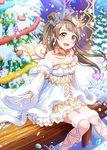 1girl :d blue_neckwear blush bow bowtie breasts brown_hair choker christmas christmas_tree cleavage collarbone crown detached_sleeves dress earrings floating_hair fur-trimmed_sleeves fur_trim gloves highres ink_(pixiv25450915) jewelry layered_dress leg_ribbon long_hair long_sleeves looking_at_viewer love_live! love_live!_school_idol_festival medium_breasts minami_kotori mini_crown open_mouth outstretched_arm pleated_dress ribbon short_dress side_ponytail single_wing sitting sleeveless sleeveless_dress smile solo striped striped_bow striped_neckwear thigh_strap white_dress white_gloves white_sleeves wide_sleeves wings yellow_eyes