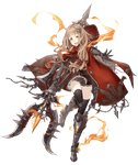 1girl >:d armored_boots blonde_hair boots chain eyes_visible_through_hair full_body gauntlets hair_ornament hairclip hood hood_down jino little_red_riding_hood_(sinoalice) official_art orange_eyes polearm ribbon sinoalice solo standing standing_on_one_leg thighhighs transparent_background trident weapon