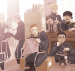 1girl black_hair blonde_hair brown_eyes cigarette dog folded_ponytail food_in_mouth fullmetal_alchemist glasses heymans_breda jean_havoc kain_fuery military military_uniform multiple_boys riza_hawkeye rose_muse887 roy_mustang short_hair smile uniform vato_falman