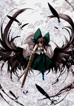 1girl arm_cannon black_hair black_wings bow cape feathers hair_bow long_hair looking_at_viewer page reiuji_utsuho shirt skirt solo thighhighs touhou weapon wings yellow_eyes