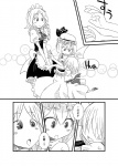 3girls :d :o apron bat_wings bow braid child comic dress english_text ghost greyscale hair_over_eyes hat hug hug_from_behind izayoi_sakuya large_bow maid maid_headdress monochrome multiple_girls open_mouth remilia_scarlet short_hair skirt skirt_set slit_pupils smile sonson_(eleven) touhou translated twin_braids v_arms waist_apron wings