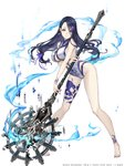 1girl absurdres bare_legs barefoot blue_hair breasts center_opening eyebrows_visible_through_hair eyes_visible_through_hair fingernails full_body grey_eyes hair_ornament hair_ribbon hairclip highres ji_no kaguya_hime_(sinoalice) large_breasts long_hair looking_at_viewer nail_polish official_art pigeon-toed pixels ribbon sharp_fingernails sinoalice skull_print solo space_invaders staff swimsuit white_background