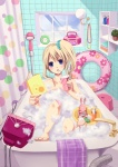1girl bad_id bad_pixiv_id bandaid bandaid_on_knee bath bathroom bathtub blonde_hair blue_eyes blush book bubble_bath curtains drinking drinking_straw innertube jewelry k-on! kirenenko kotobuki_tsumugi necklace open_mouth pearl_necklace plant polka_dot potted_plant putin radio shower_head side_ponytail soap solo stuffed_toy television toes toothbrush toothpaste usavich uzura_yuuno window