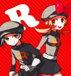 1boy 1girl bad_id bad_pixiv_id bow brown_eyes brown_hair cabbie_hat clothes_writing cosplay dada_(dolce) gloves gold_(pokemon) hat hat_ribbon kotone_(pokemon) pokemon pokemon_(game) pokemon_hgss red_ribbon ribbon short_twintails skirt team_rocket_uniform twintails