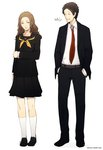 1boy 1girl adachi_tooru age_difference belt blazer brown_hair closed_eyes formal grin hand_on_own_arm hands_in_pockets houndstooth jacket konishi_saki mushisotisis necktie no_shoes persona persona_4 pleated_skirt school_uniform serafuku skirt smile socks suit unmoving_pattern white_legwear