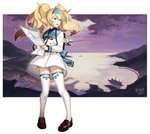 1girl artist_name blonde_hair blue_eyes commentary crying crying_with_eyes_open escort_water_hime full_body gambier_bay_(kantai_collection) hairband highres kantai_collection kinsenka_momi loafers long_hair long_sleeves looking_away mountain neck_ribbon open_mouth ribbon sailor_collar ship shipyard shoes shorts solo standing tears thighhighs twintails watercraft white_background white_legwear