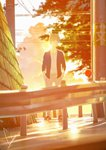 1boy blonde_hair blurry blurry_background hands_in_pockets highres jacket looking_at_viewer loundraw original outdoors power_lines railing short_hair signature solo