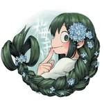 1girl :> aiue0 asui_tsuyu blue_flower blush boku_no_hero_academia braid commentary_request finger_to_mouth flower forget-me-not_(flower) frog_girl graphite_(medium) green_eyes green_hair hair_flower hair_ornament hair_rings hydrangea long_hair looking_at_viewer low-tied_long_hair millipen_(medium) smile traditional_media translation_request