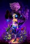 1boy 1girl armor armored_dress bird black_armor dress gwendolyn odin_sphere oropi oswald_(odin_sphere) polearm purple_hair spear standing strapless strapless_dress weapon