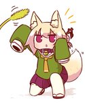 1girl animal_ears arm_up bangs bell bell_collar blonde_hair blush brown_collar brown_footwear cattail collar commentary_request eyebrows_visible_through_hair fox_ears fox_girl fox_tail full_body green_shirt hair_between_eyes hair_bun hair_ornament hand_up highres jingle_bell kemomimi-chan_(naga_u) long_hair long_sleeves looking_away looking_up naga_u notice_lines one_knee orange_neckwear original parted_lips plant pleated_skirt purple_skirt red_eyes ribbon-trimmed_sleeves ribbon_trim sailor_collar shirt sidelocks skirt sleeves_past_fingers sleeves_past_wrists solo tail thighhighs v-shaped_eyebrows white_legwear white_sailor_collar