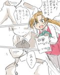 1boy 1girl :d admiral_(kantai_collection) akigumo_(kantai_collection) aqua_neckwear blush bow bowtie brown_hair buttons collared_shirt comic commentary dress embarrassed epaulettes green_eyes hair_between_eyes hair_bow highres kantai_collection long_hair long_sleeves military military_uniform naval_uniform open_mouth pantyhose partially_colored ponytail poyo_(hellmayuge) round_teeth shirt sleeveless sleeveless_dress smile speech_bubble sweat teeth translated uniform white_shirt