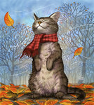 animal autumn autumn_leaves cat clothed_animal matataku no_humans original plaid plaid_scarf scarf solo standing