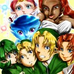 2boys 5girls blonde_hair blue_eyes blue_skin breasts cleavage dark_skin dual_persona extra_eyes face fairy green_hair harem headdress hug large_breasts link long_hair malon monster_girl multiple_boys multiple_girls nabooru navi ocarina_of_time pointy_ears princess_ruto princess_zelda purple_eyes red_eyes red_hair saria smile the_legend_of_zelda time_paradox young_link zora