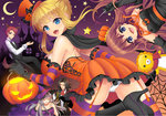2boys 3girls :d animal_ears beatrice black_gloves black_hair blonde_hair blue_eyes breasts brown_hair cape closed_eyes crescent_moon dress facial_hair fang garter_straps gloves halloween hat jack-o'-lantern large_breasts monocle moon multiple_boys multiple_girls mustache open_mouth panties pantyshot red_hair ronove sakutarou silk silver_hair smile spider_web star striped striped_legwear stuffed_animal stuffed_lion stuffed_toy tail thighhighs top_hat umineko_no_naku_koro_ni underwear ushiromiya_battler ushiromiya_maria virgilia wand white_gloves white_panties witch_hat wolf_ears wolf_tail youshuu