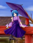 1girl alternate_costume bashamichi blue_hair blue_sky boots brown_footwear cross-laced_footwear heterochromia holding holding_umbrella koki110-6 lace-up_boots long_skirt looking_at_viewer short_hair sitting skirt sky tatara_kogasa tongue tongue_out touhou umbrella yagasuri