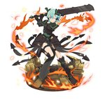 1girl ;) ahoge aqua_eyes aqua_hair armor black_footwear boots faux_figurine fire full_body gauntlets green_leotard hair_between_eyes hair_ornament hairclip holding holding_weapon knee_boots leotard looking_at_viewer one_eye_closed one_leg_raised shinon_(sao-alo) short_hair sidelocks simple_background smile solo spaulders sword sword_art_online thigh_strap weapon white_background