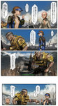 1boy 2girls armor bald blue_sky bowl bridge check_translation clenched_hand closed_eyes club comic commentary_request cooking day eyepatch fallout fallout_4 gun hair_bun hands_up highres holding holding_bowl jumpsuit mohawk multiple_girls open_clothes open_mouth open_shirt porter_gage_(fallout_4) pot rifle sage_(mami1210) shirt sitting sky sole_survivor_(female) spiked_club translation_request unzipped visor_cap weapon wide-eyed wreckage