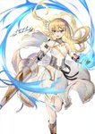 1girl armor bangs bare_shoulders blonde_hair blue_eyes blush boots braid breasts charging_(attack) commentary_request copy_(tenkuu_no_craft_fleet) dated dress floating_hair french_braid gauntlets hair_between_eyes hair_ornament hair_ribbon hairclip halterneck heiwari_kanade highres holding_lance knee_boots kneehighs lance leg_up light_particles long_hair looking_at_viewer medium_breasts one_side_up open_mouth polearm ribbon sidelocks signature simple_background sleeveless sleeveless_dress solo tenkuu_no_craft_fleet very_long_hair weapon white_background white_ribbon wind