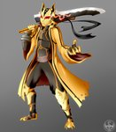 1boy capelet clawed_boots clawed_gauntlets gloves glowing glowing_eyes grey_background highres holding holding_sword holding_weapon lightning-in-my-hand mask naruto naruto_(series) naruto_shippuuden over_shoulder red_eyes sword sword_over_shoulder tagme uzumaki_naruto uzumaki_naruto_(kurama_mode) weapon weapon_over_shoulder yellow_gloves