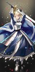 1girl ahoge armor armored_dress arms_up artoria_pendragon_(all) blonde_hair blue_eyes braid cape commentary_request crown excalibur fate/stay_night fate_(series) french_braid gauntlets highres holding holding_sword holding_weapon noes saber solo sword weapon