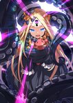 1girl abigail_williams_(fate/grand_order) bangs black_bow black_dress black_hat blonde_hair blue_eyes bow bug butterfly commentary_request dress fate/grand_order fate_(series) glowing glowing_eyes hair_bow hat insect long_hair long_sleeves looking_at_viewer object_hug open_mouth orange_bow parted_bangs polka_dot polka_dot_bow sleeves_past_fingers sleeves_past_wrists solo star_(sky) stuffed_animal stuffed_toy suction_cups teddy_bear tentacles tilted_headwear tsurime ugume very_long_hair