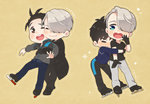 2boys black_gloves black_hair blue_eyes brown_eyes closed_eyes english gloves hair_over_one_eye hug hug_from_behind ice_skates jacket katsuki_yuuri male_focus multiple_boys one_eye_closed open_mouth ruei_(chicking) silver_hair skates smile sparkle track_jacket viktor_nikiforov yuri!!!_on_ice