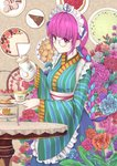 1girl absurdres anchor apron bespectacled blue_flower blue_hair blue_ribbon blue_skirt braid breasts brown-framed_eyewear brown_background brown_flower cake closed_mouth commentary_request cup flower food frilled_apron frills fruit glasses hair_ribbon highres holding_saucer holding_teapot hololive japanese_clothes kimono long_hair long_sleeves maid_headdress minato_aqua multicolored_hair pink_flower plate purple_eyes purple_flower purple_hair red_flower ribbon round_eyewear saucer single_braid skirt slice_of_cake small_breasts smile solo strawberry striped table teacup teapot tiered_tray two-tone_hair vertical-striped_kimono vertical_stripes very_long_hair virtual_youtuber waist_apron wang_man white_apron wide_sleeves