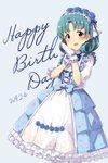 1girl :d bangs blue_background blue_bow blue_dress blue_flower blue_hair blue_ribbon blue_rose blush bow center_frills cross-laced_clothes dated dress flower frilled_dress frilled_gloves frilled_sleeves frills gloves hair_flower hair_ornament hairband hands_together hands_up happy_birthday highres idolmaster idolmaster_million_live! lolita_hairband looking_at_viewer open_mouth parted_bangs red_eyes ribbon rose short_sleeves smile solo suke_(momijigari) tokugawa_matsuri
