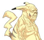 1boy bald closed_mouth detective_pikachu_(movie) detective_pikachu_(series) ears_back ears_down fat fat_folds fat_man from_side highres hollow_eyes limited_palette male_focus meme nobita nose nostrils nude old old_man personification pikachu pokemon ribs simple_background solo striped striped_tail tail upper_body what white_background wrinkled_skin yellow_skin