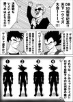 3boys absurdres announcer_(dragon_ball) comic dragon_ball dragon_ball_z facial_hair formal greyscale highres kamui_(krkrkmi) male_focus microphone monochrome multiple_boys muscle mustache necktie open_mouth scar scar_across_eye silhouette smile suit sunglasses translation_request vegeta yamcha
